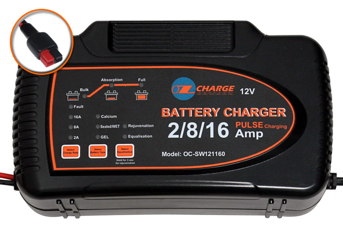 Ozcharge 12 Volt Selectable 2 8 16 Amp Battery Charger