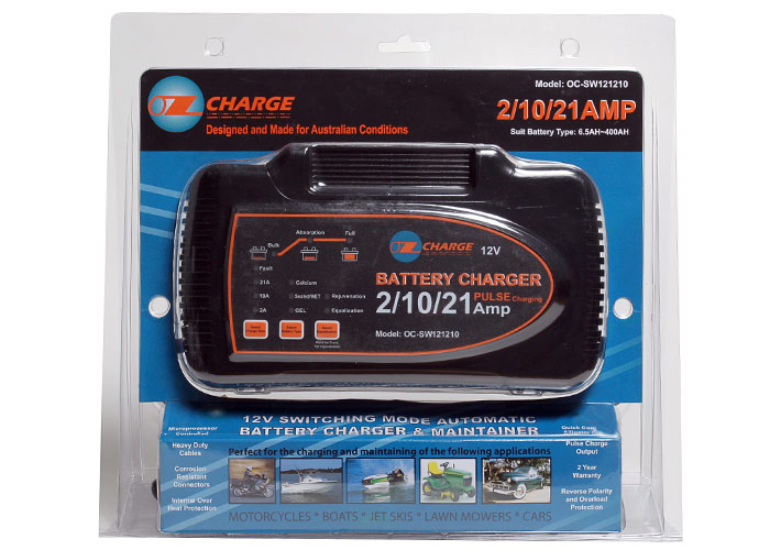 Ozcharge 12 Volt Selectable 2 10 21 Amp Battery Charger